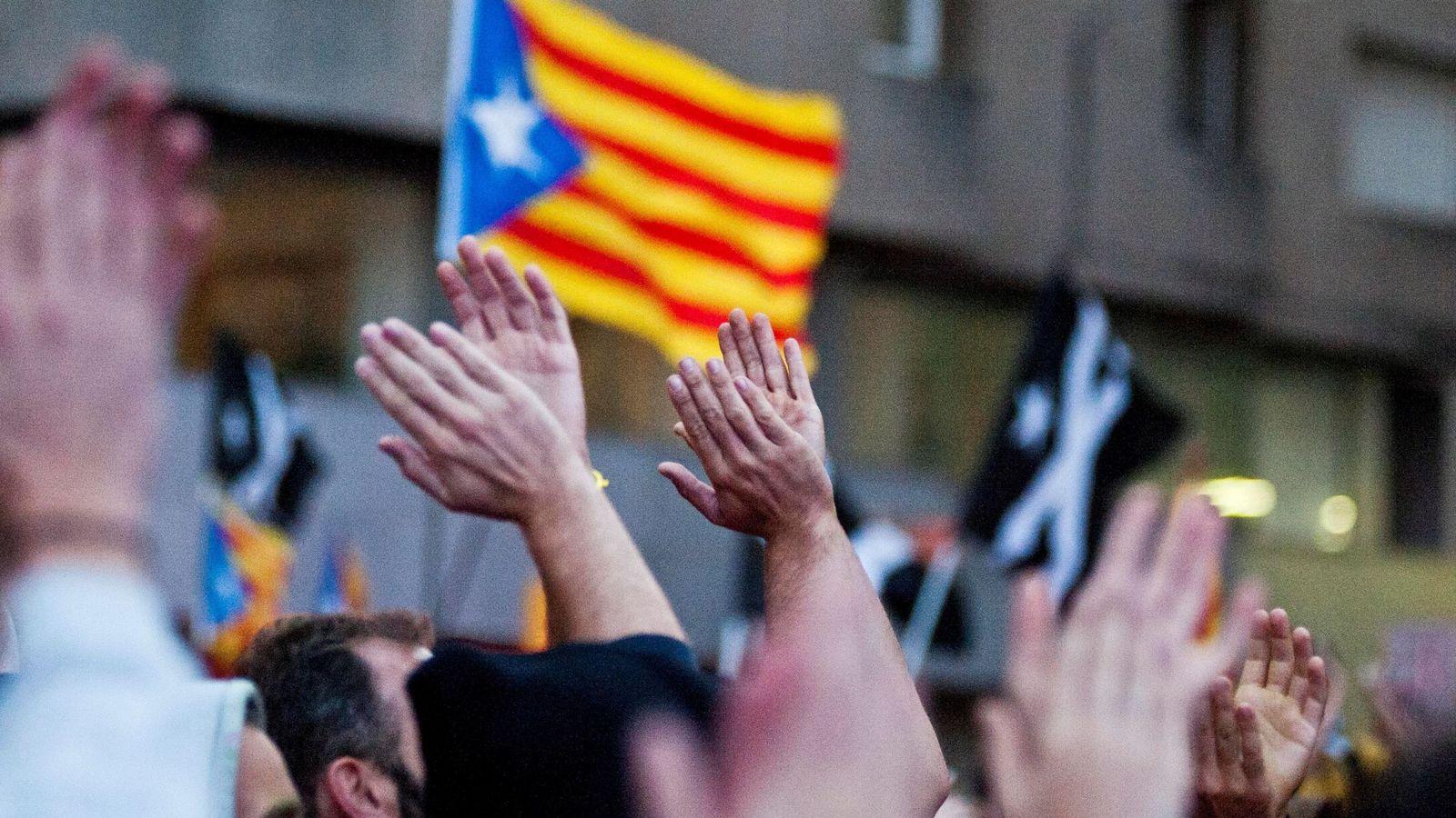 Foto: Imagen de la concentración de protesta convocada por los CDR el pasado lunes en Girona. (EFE)