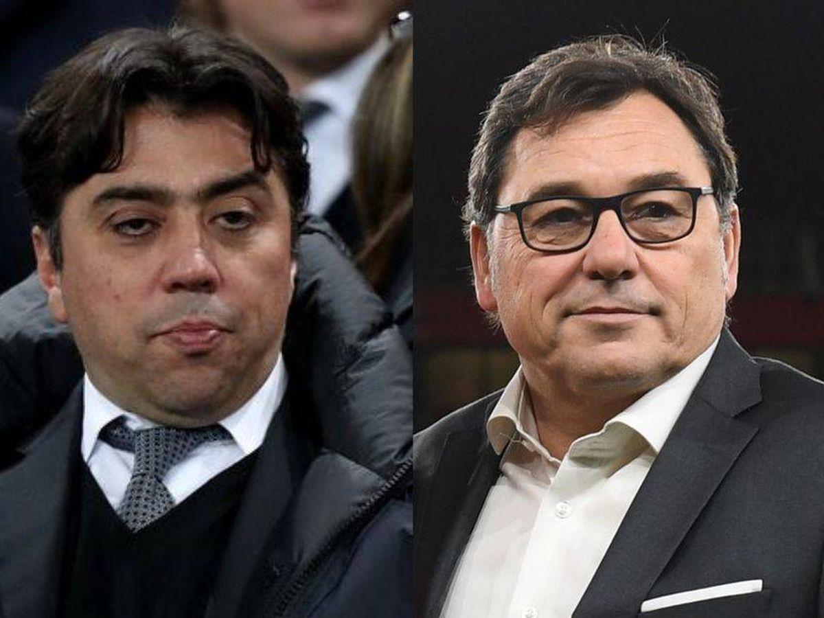 Foto: El catalán Raül Sanllehí, director de fútbol del Arsenal, junto al agente Kia Joorabchian.