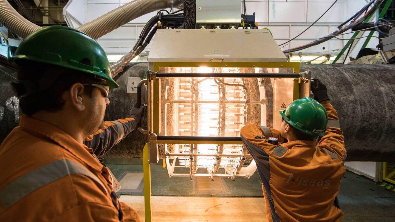 Trabajos a bordo del Audacia. (Nord Stream 2/Axel Schmidt)