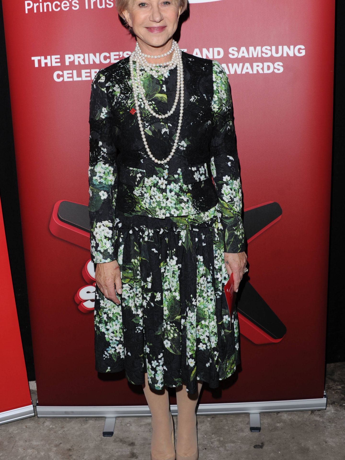 Helen Mirren, con su vestido preferido. (Getty)