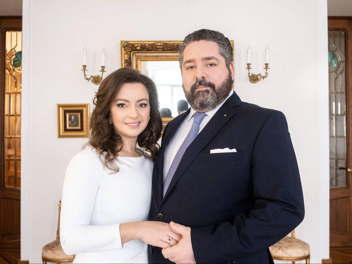 Foto: El gran duque Jorge y su prometida, Rebecca Bettarini. (Foto: Cancillería de la Casa Imperial de Rusia)