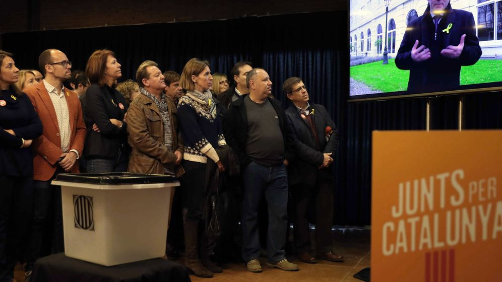 Foto: Intervención de Puigdemont desde Bruselas. (EFE)