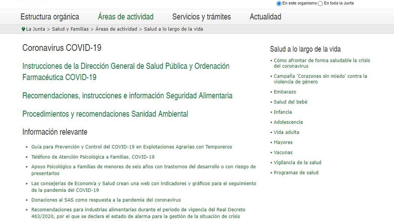 Una de las web de Andalucía sobre el coronavirus