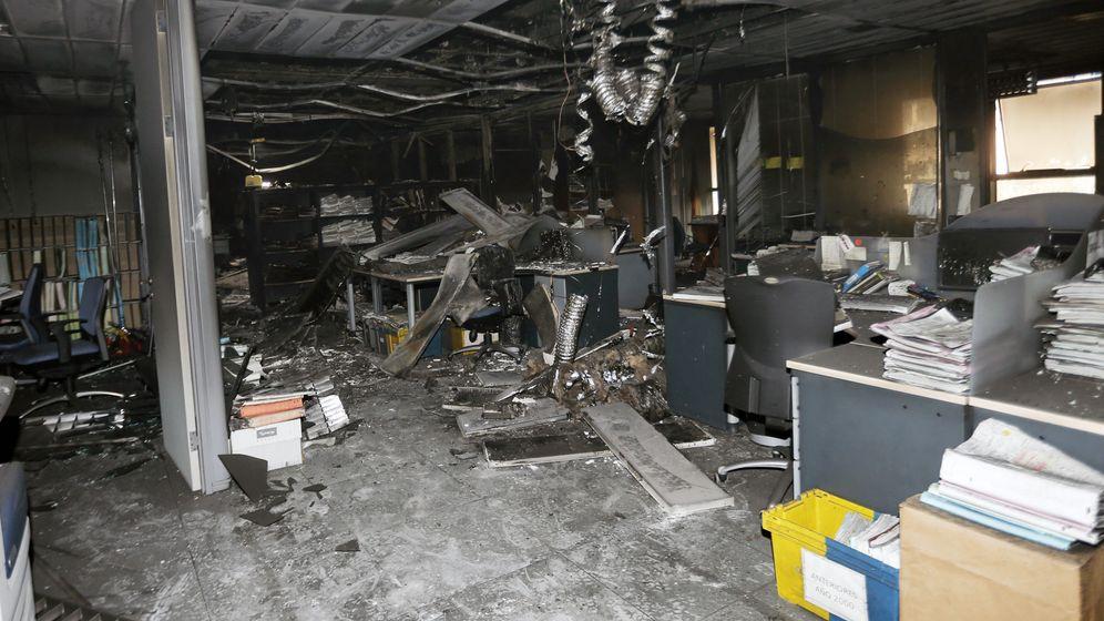 Foto: El Juzgado de Instancia Número 2, uno de los afectados por el incendio en la Ciudad de la Justicia de Valencia. (EFE)