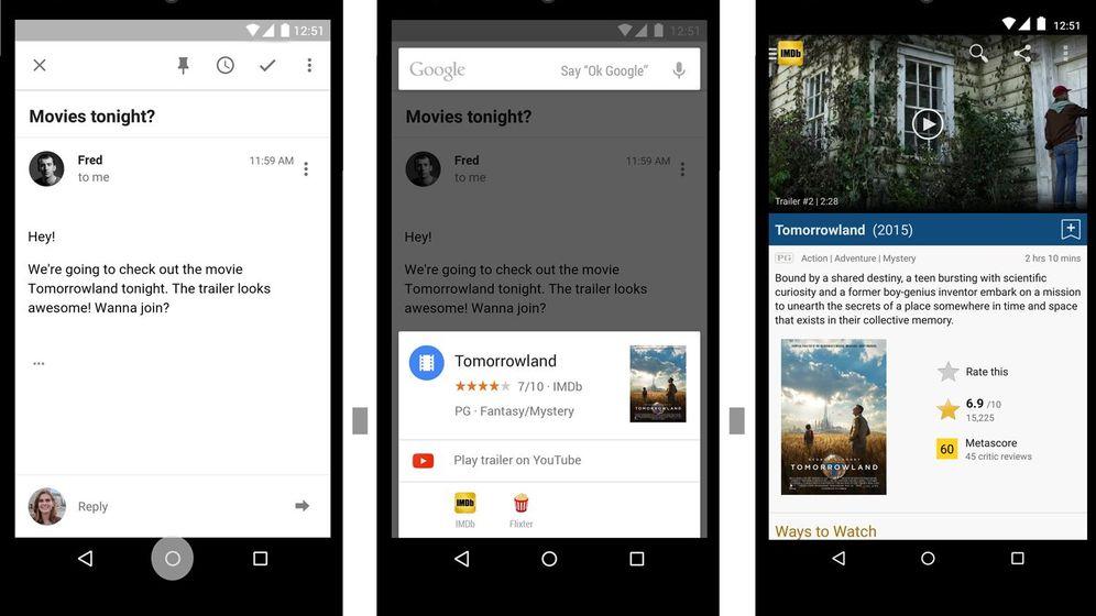 Foto: Google muestra el futuro de los 'smartphones' con 'Now on Tap'