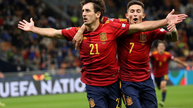 Oyarzabal celebra el gol marcado a Francia en la final de la Liga de Naciones. (EFE)