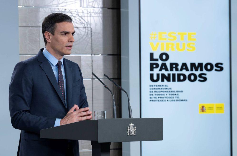 Foto: Pedro Sánchez, durante su comparecencia en la Moncloa, este 21 de marzo. (Pool Moncloa)