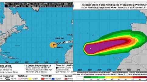 El huracán Leslie llega a España: alerta por vientos y lluvia