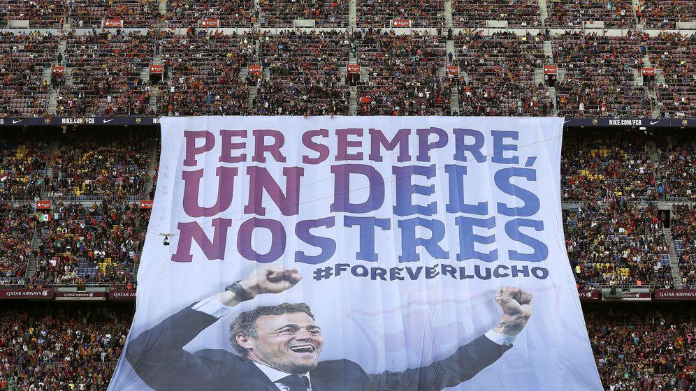 Foto: Pancarta de despedida del Camp Nou a Luis Enrique. (EFE)