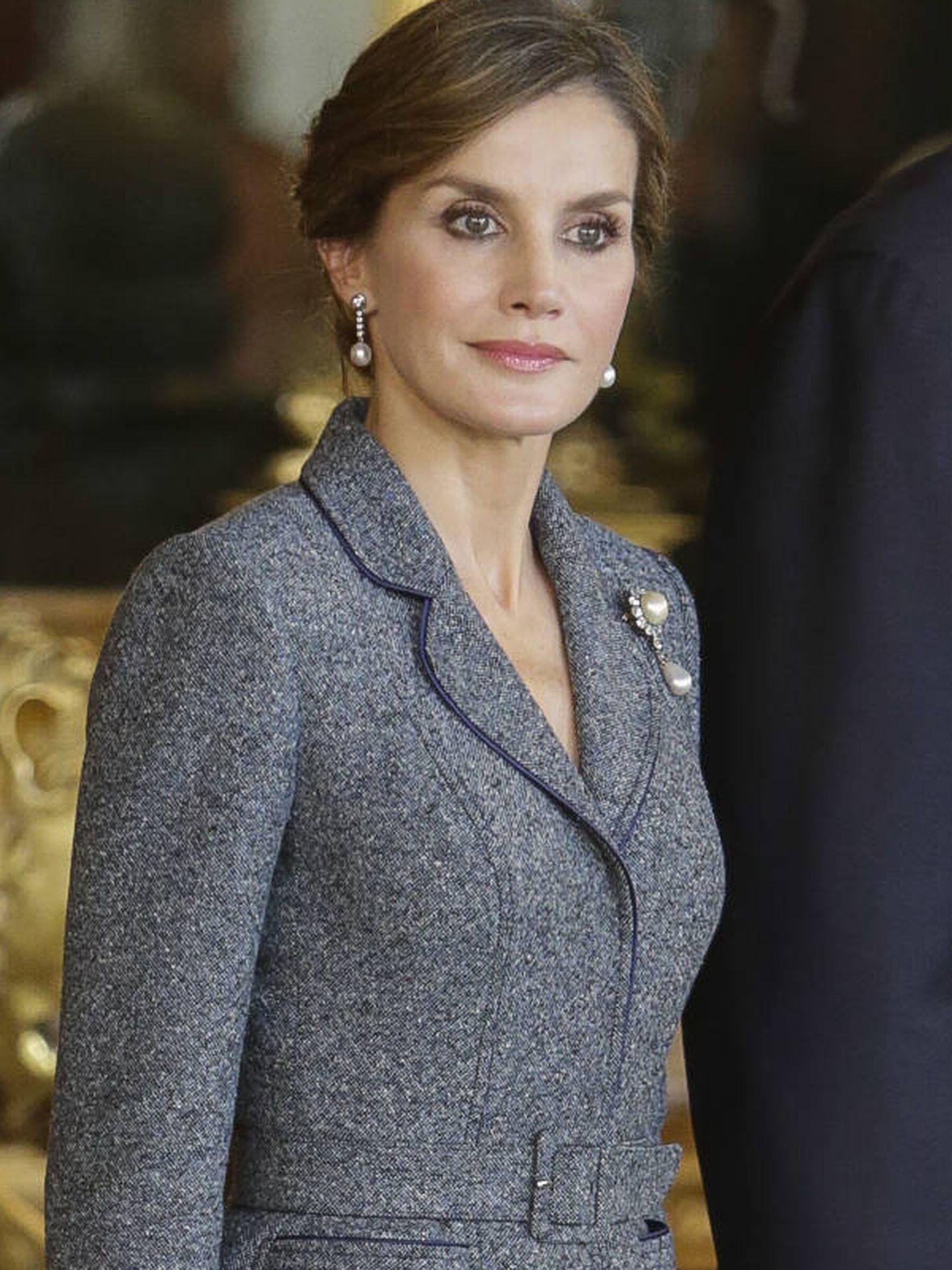 La reina Letizia en la recepción en palacio. (Gtres)