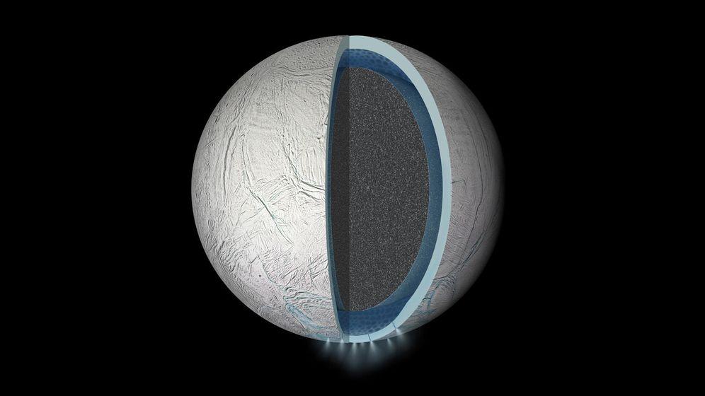 Foto: Reconstrucción de las capas de Encélado. (NASA)