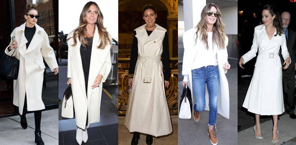 Foto: Gigi Hadid, Heidi Klum, Olivia Palermo y Angelina Jolie con abrigos y trench blancos.