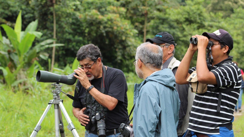Ornitólogos observando a las aves en Ecuador. Foto: EFE