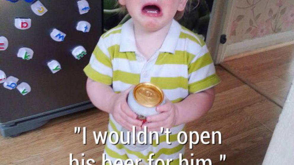 Las divertidas razones del llanto de estos niños: no puedo abrir la cerveza