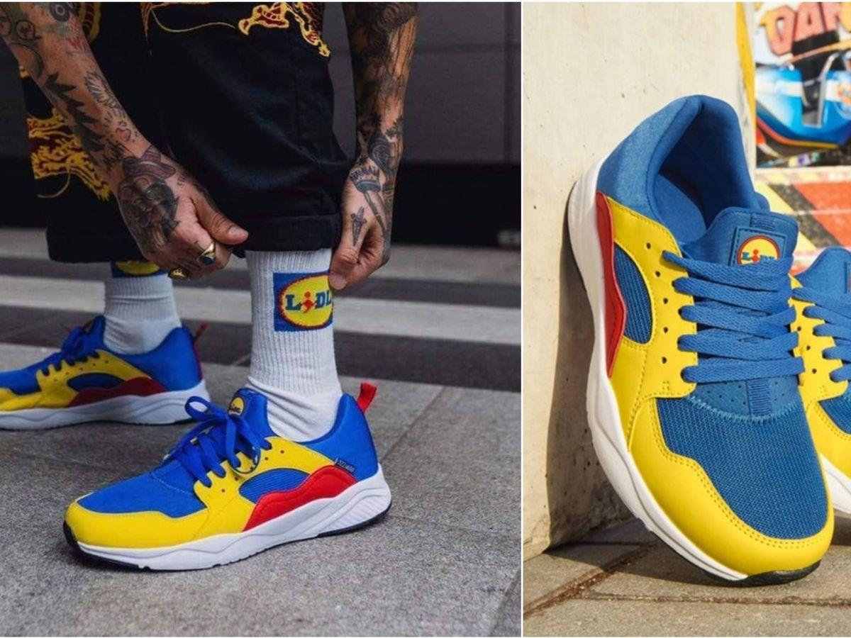 Foto: Las zapatillas de deporte con los colores corporativos de supermercados Lidl