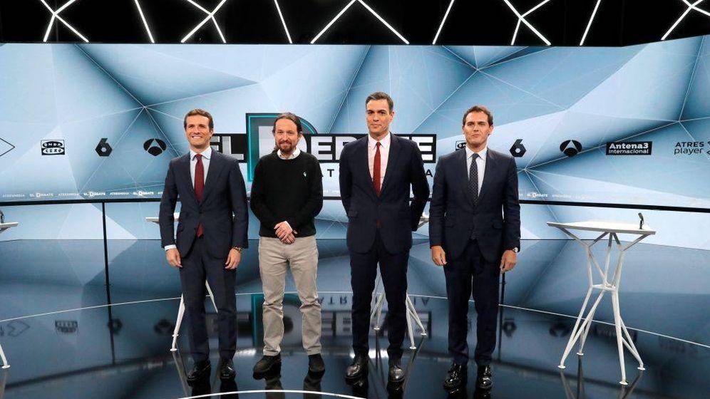 Foto: Pablo Casado, Pablo Iglesias, Pedro Sánchez y Albert Rivera, en el debate de Atresmedia. (EFE)