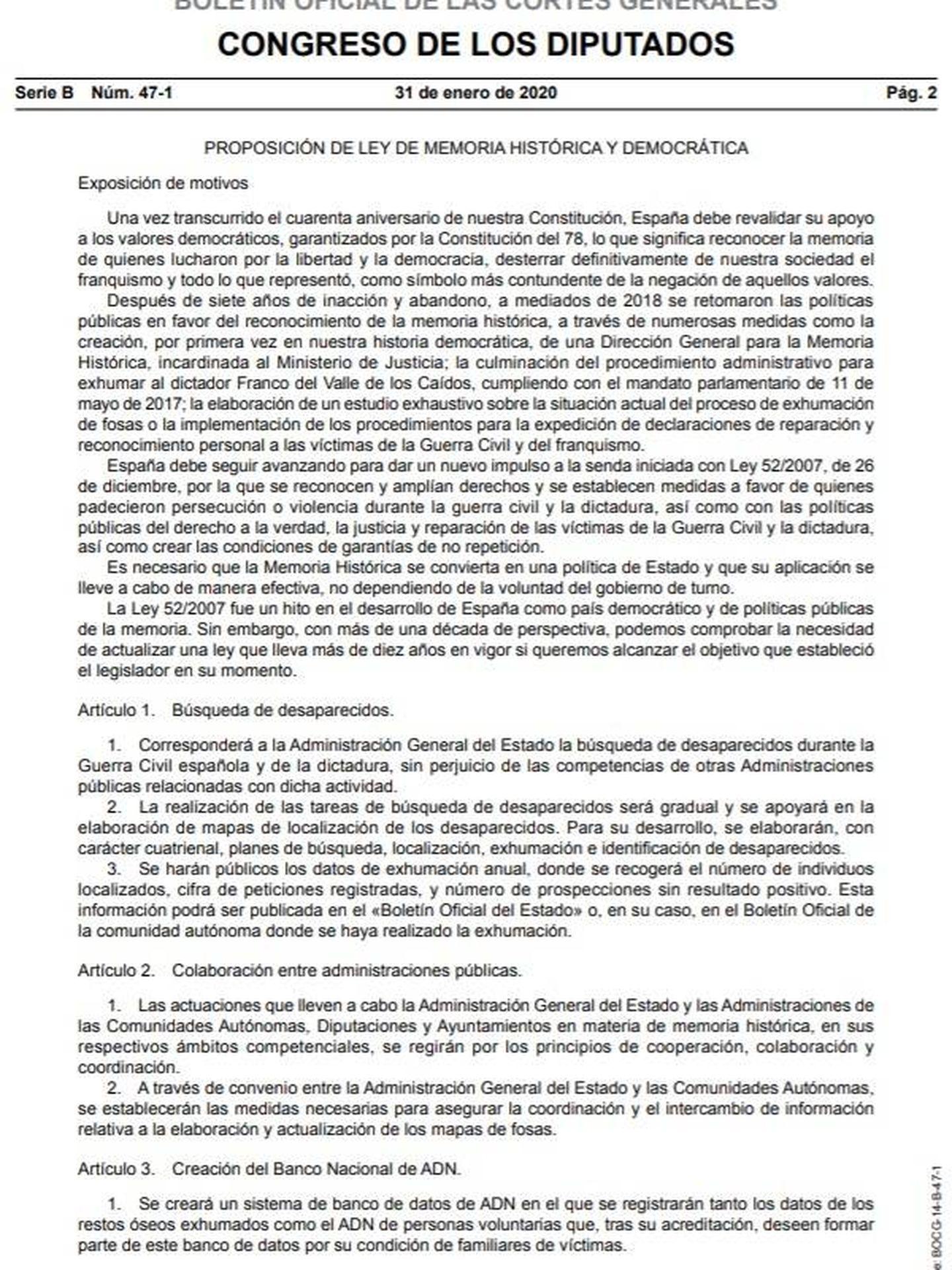 Consulte aquí en PDF la proposición de Ley de Memoria Histórica del Grupo Socialista en el Congreso registrada el 24 de enero.