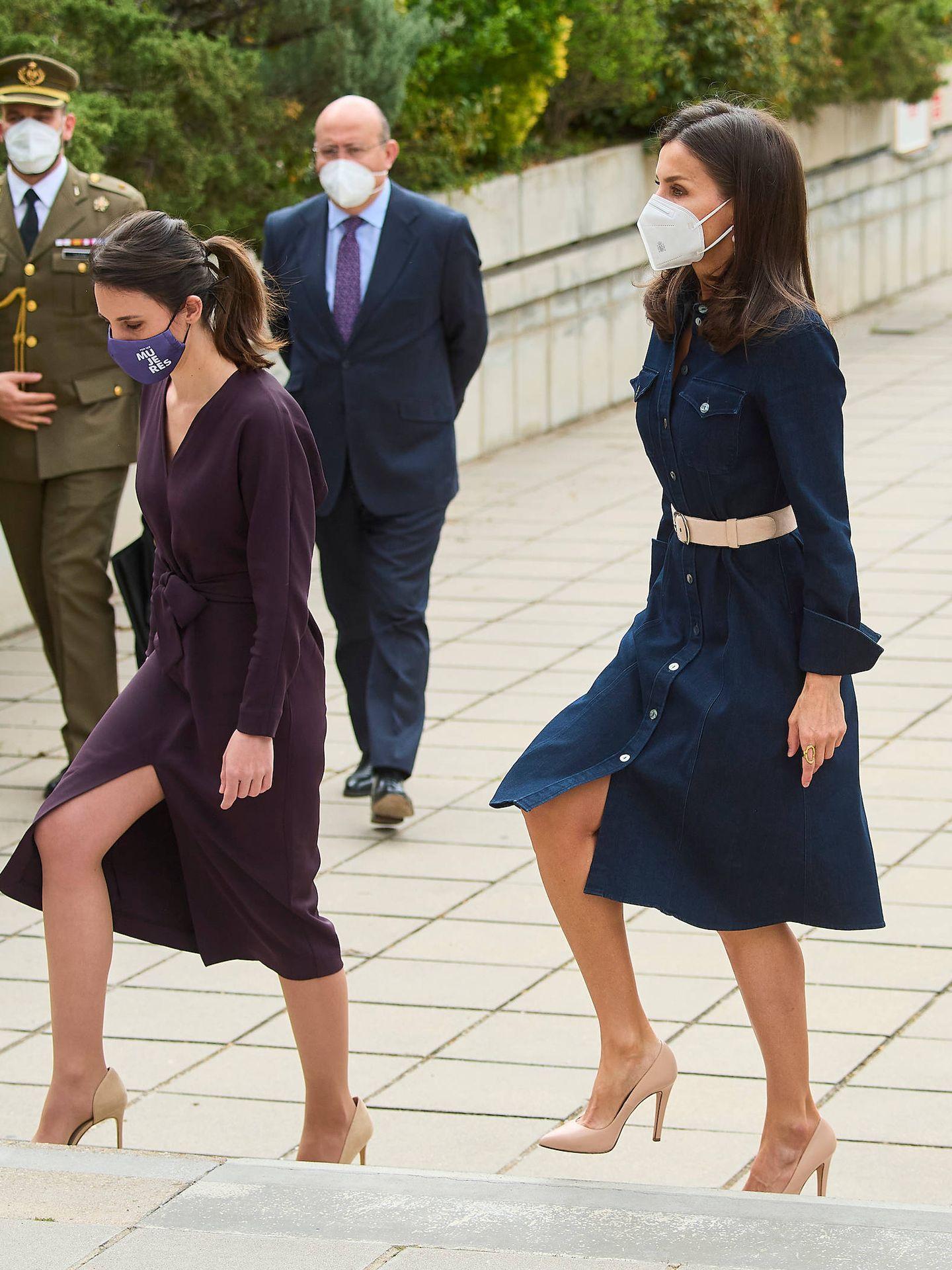 La reina Letizia, junto a Irene Montero el pasado abril. (Limited Pictures)