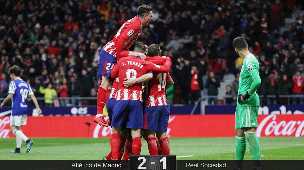 Foto: Jugadores del Atlético de Madrid celebran el gol de la victoria. (Reuters)