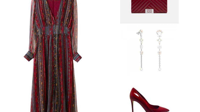 Desgranamos pieza a pieza su look: vestido de Intropia, clutch de Carolina Herrera, pendientes de Tous y salones de Dolce & Gabbana.