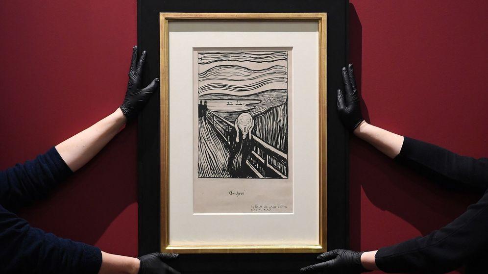 Foto:  Litografía de 'El Grito', del artista noruego Edvard Munch, durante la presentación de una instalación en el Museo Británico de Londres (Efe).