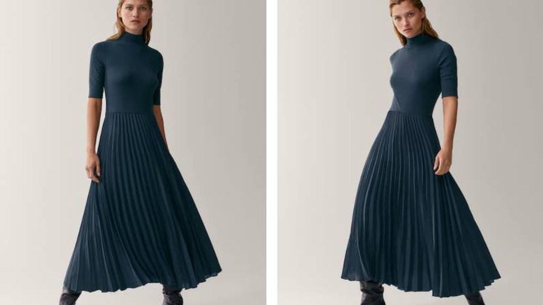 Vestido plisado de Massimo Dutti. (Cortesía)