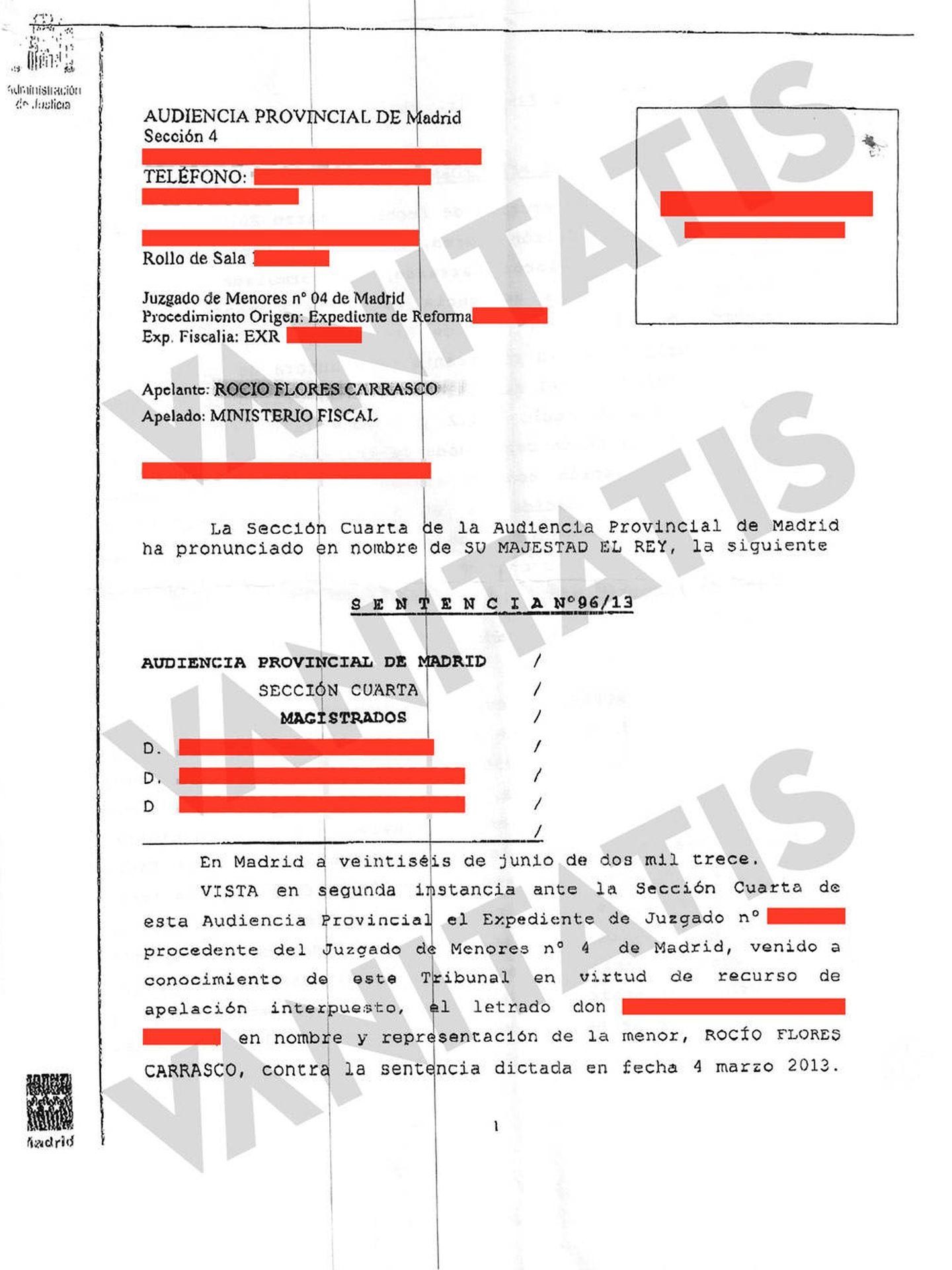 Sentencia de la Audiencia Provincial. (Vanitatis)