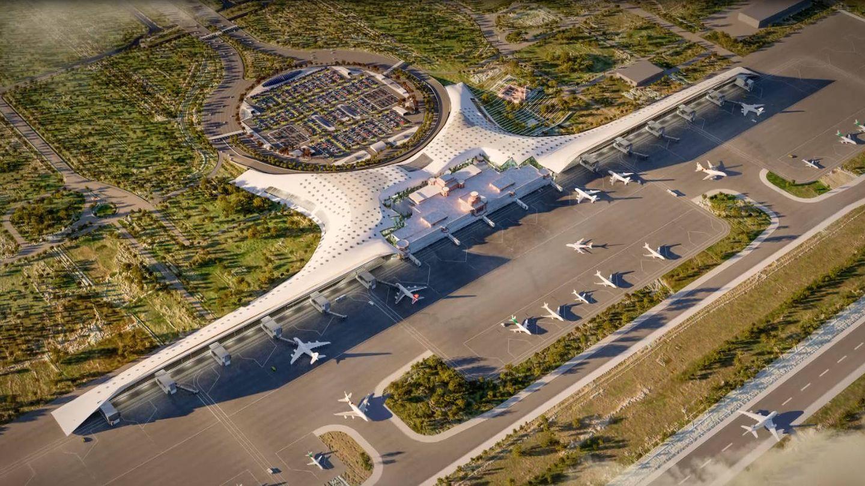 Ilustración de la ampliación del aeropuerto de Allama Iqbal (Pakistán) que preparan Pablo Gil y Jaime Bartolomé. (Foto: Pablo Gil y Jaime Bartolomé)