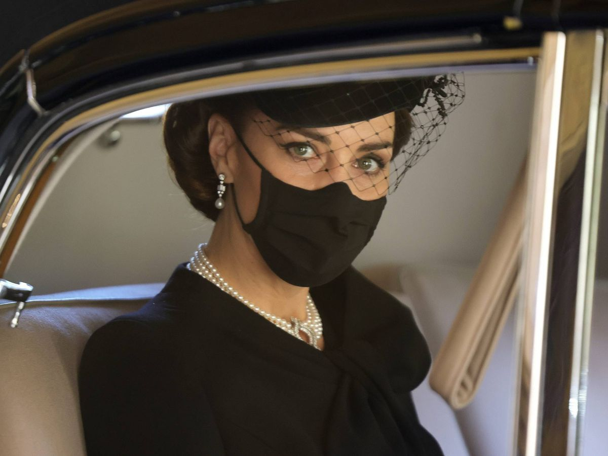 Foto: Kate Middleton durante el funeral del duque de Edimburgo. (Cordon Press)