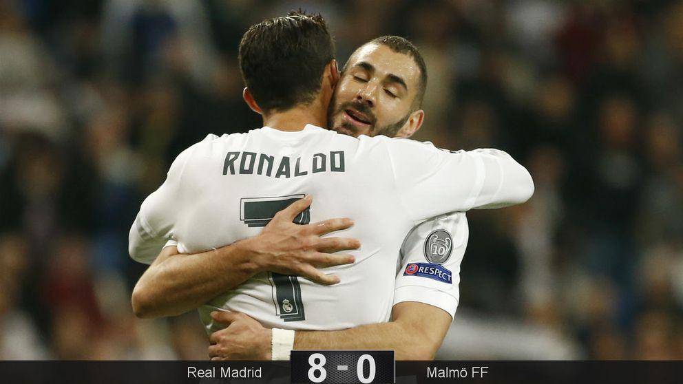 Un gran Cristiano Ronaldo (4) y el discutido Benzema (3) se dan un festín