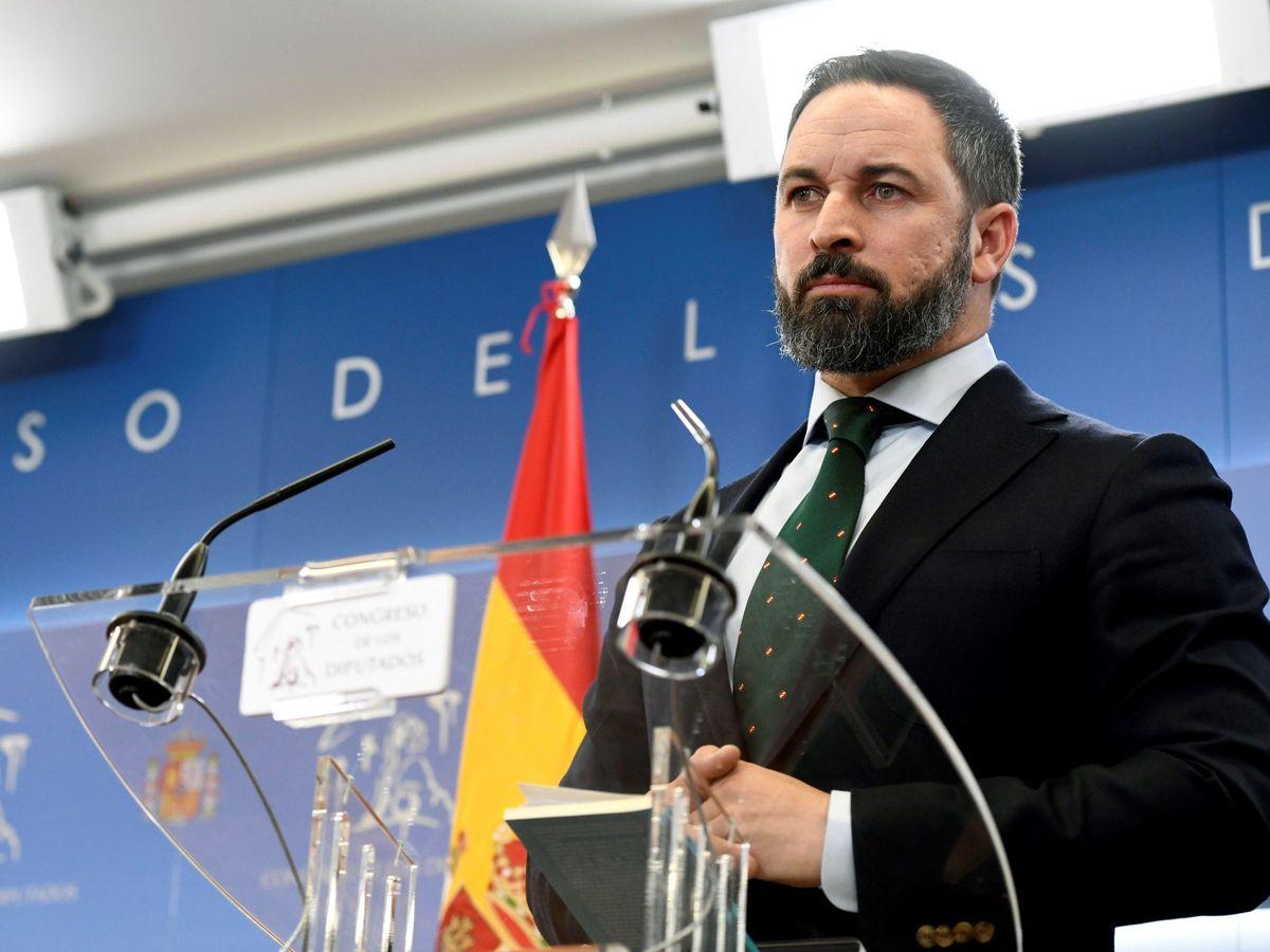 Foto: Rueda de prensa de Santiago Abascal tras la audiencia con Felipe VI. (EFE)
