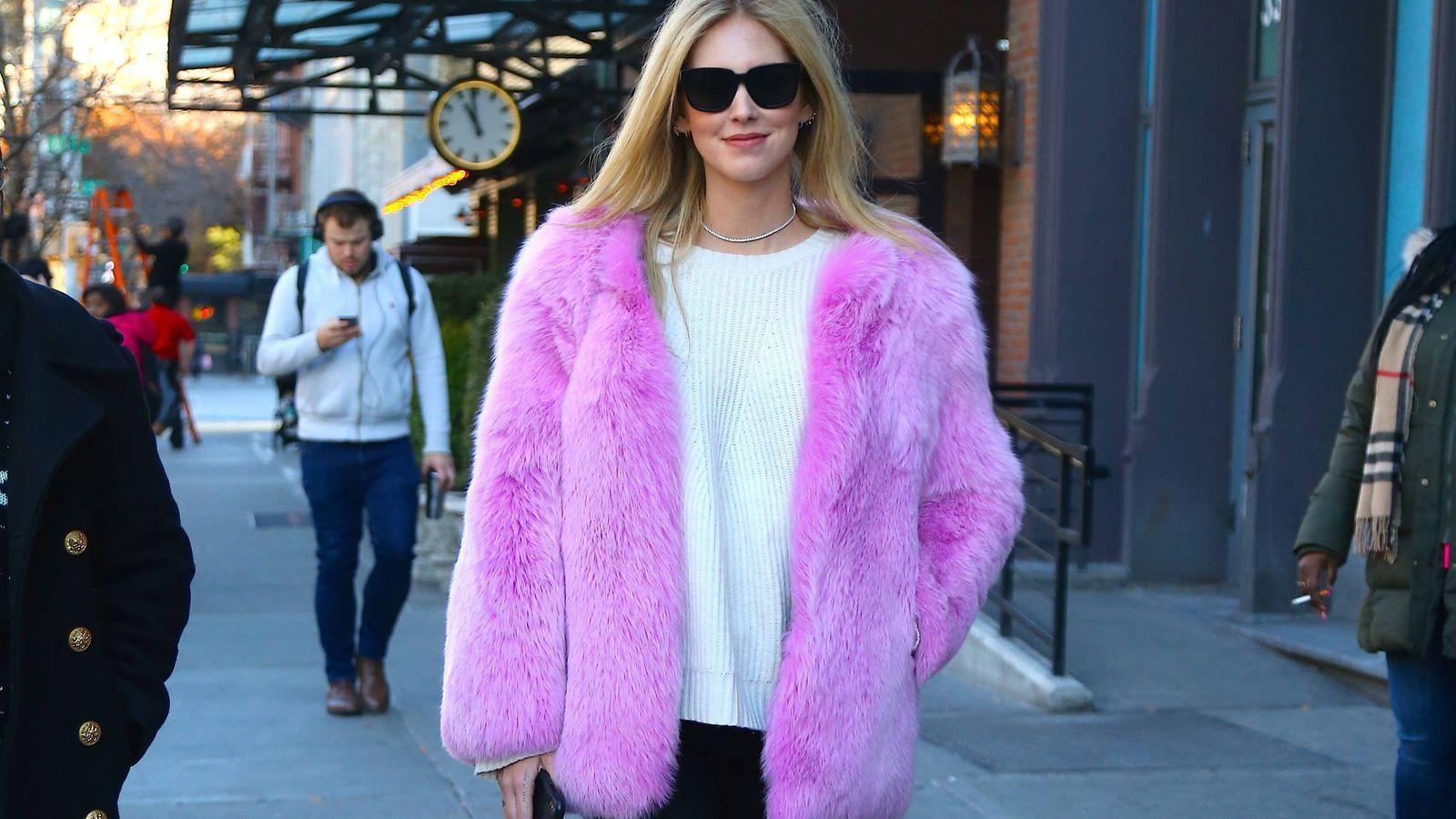 Foto: La 'it girl' Chiara Ferragni, por las calles de Nueva York, en una imagen del pasado noviembre. (Gtres)