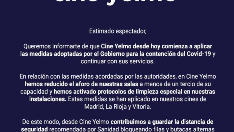 El anuncio de Cine Yelmo sobre las medidas contra el coronavirus