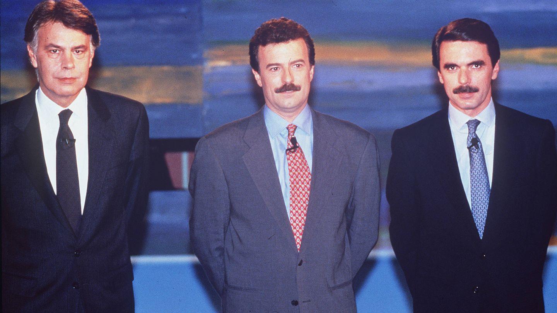Felipe González, Manuel Campo Vidal y José María Aznar. (Atresmedia)