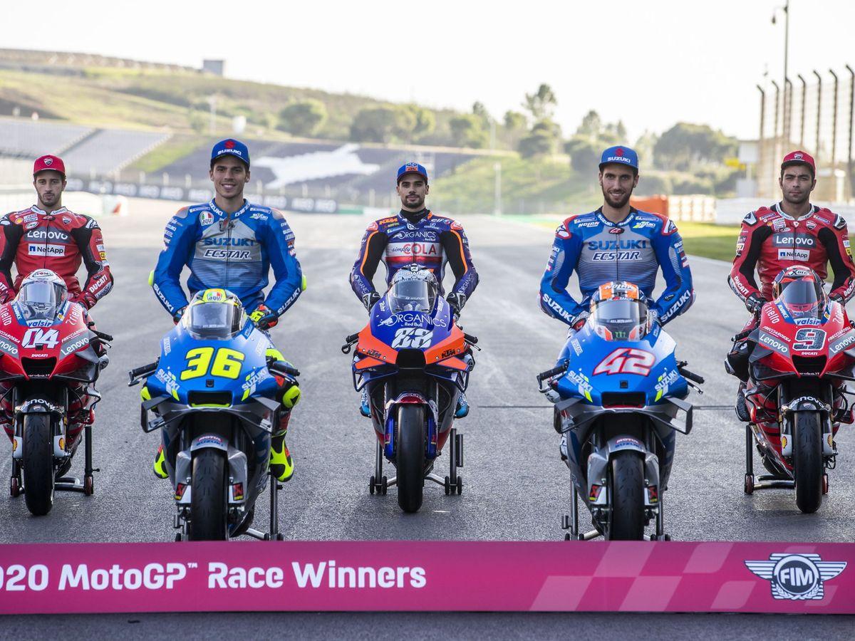 Foto: Parte de los ganadores de carreras esta temporada de MotoGP. (EFE)