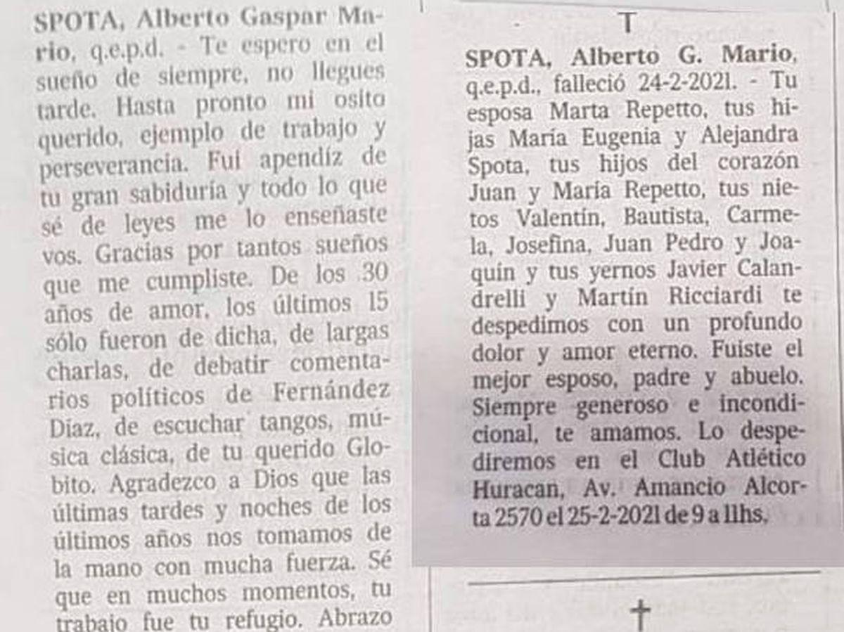 Foto: Las dos esquelas aparecieron en el mismo periódico el mismo día (La Nación)