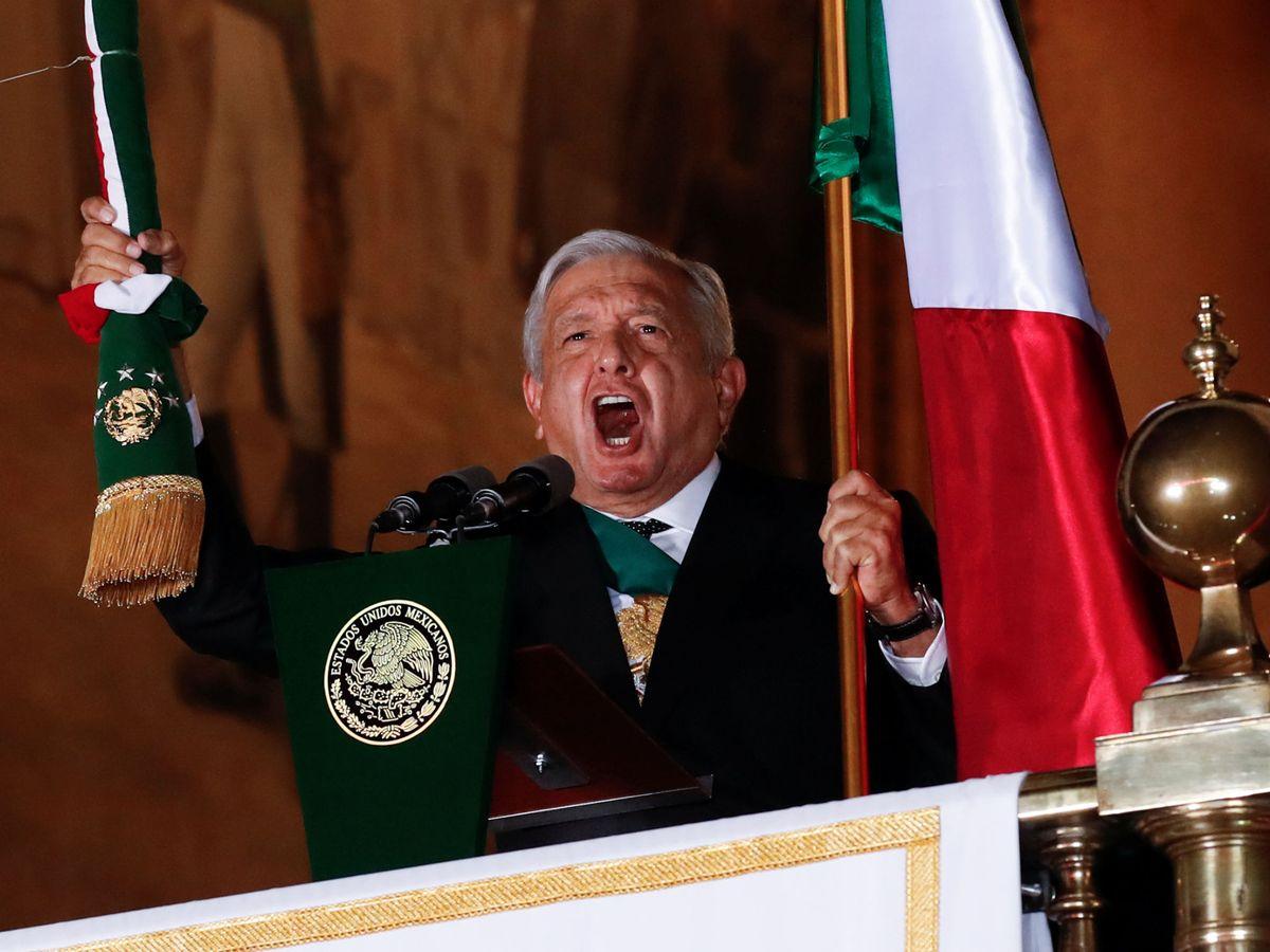 """Foto: El presidente Andrés Manuel López Obrador celebra """"el Grito"""", la conmemoración anual de la independencia mexicana de España. (Reuters)"""