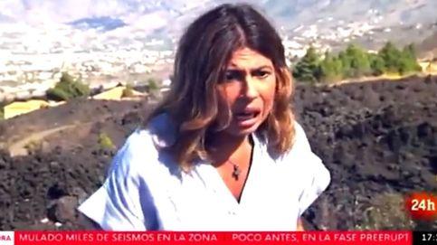 Susto en directo de una reportera de TVE con el volcán de La Palma