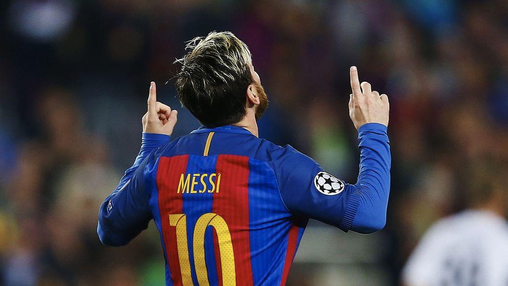 Foto: Messi celebra su gol al Borussia Mönchengladbach. (EFE)