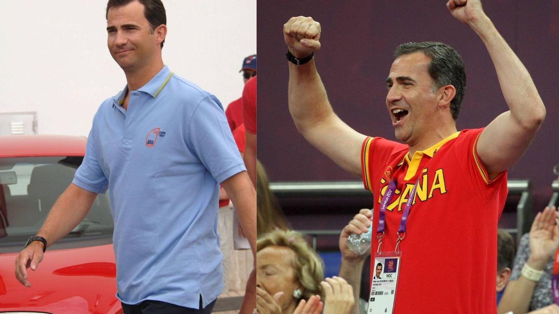 El rey Felipe en el verano de 2005 y en el de 2012. (Getty / Cordon Press)