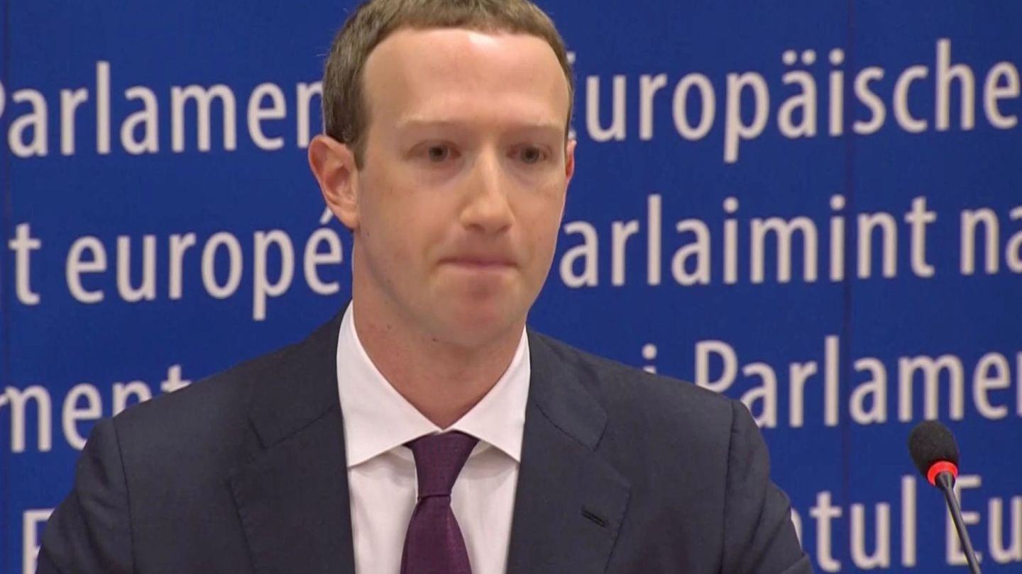 Facebook's CEO Mark Zuckerberg answers questions about the improper use of millions of users' data by a political consultancy, at the European Parliament in Brussels, Belgium, in this still image taken from Reuters TV May 22, 2018. REUTERS ReutersTV