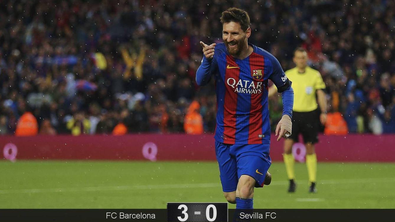 Foto: Messi marcó dos de los tres goles del Barcelona contra el Sevilla. (EFE)