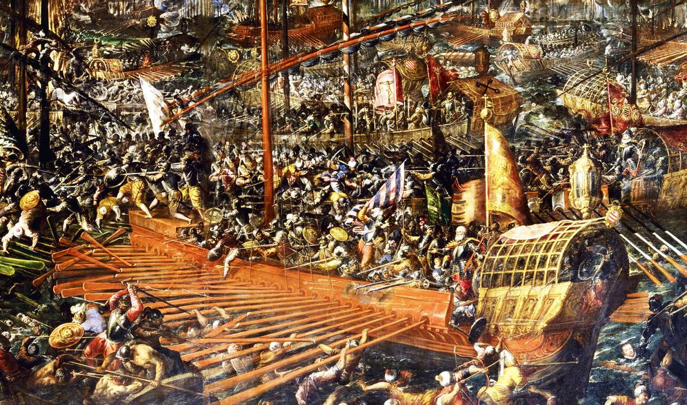 Foto: La batalla naval de Lepanto, según Andrea Vicentino (1580).
