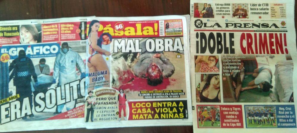 Foto: Portadas de varios diarios de nora roja, el género más popular de México. (A. Espallargas)
