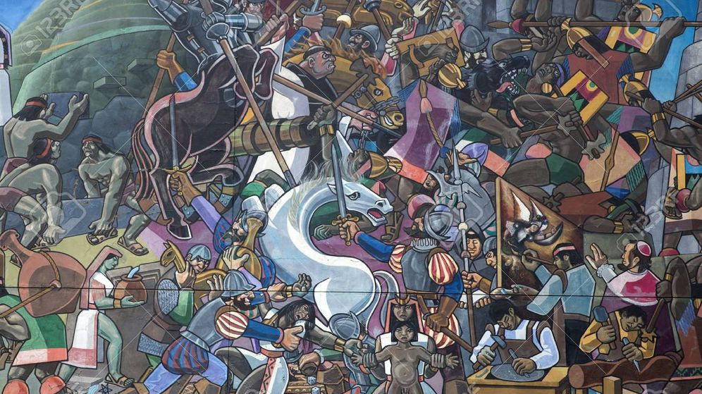 Foto: Detalle de un mural de Cuzco dibujado por Juan Bravo en 1992