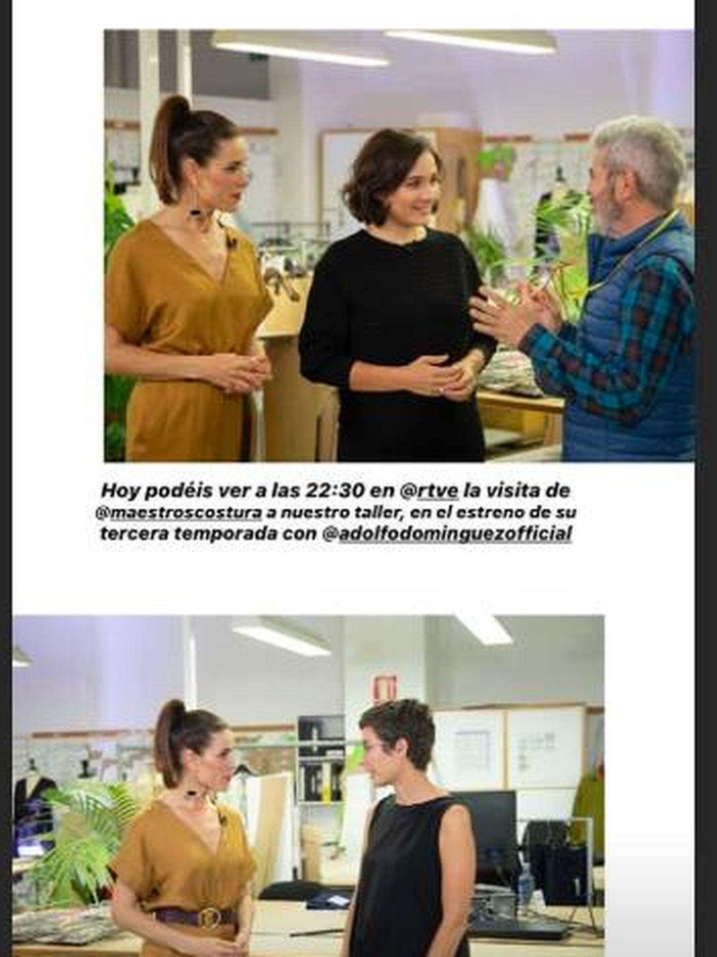 Imágenes de Raquel y Lorenzo Caprile en el taller de Adolfo Domínguez. (Instagram)