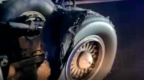 Así ha quedado la rueda del avión de Air Canada que aterrizó de emergencia en Madrid