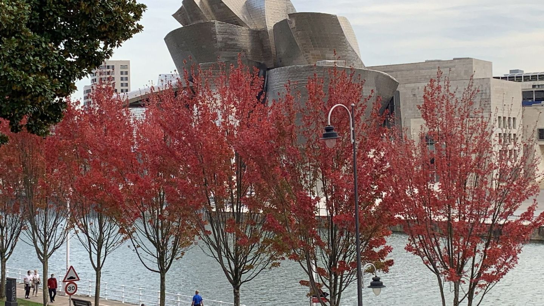 Árboles de otoño frente al Guggenheim. (EFE)
