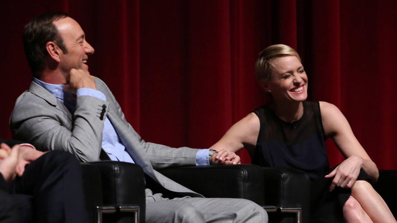 Spacey y Robin Wright durante un evento de promoción de 'House of Cards'. (Getty)