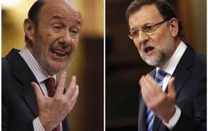 Rubalcaba y Rajoy compiten por ver quién miente más